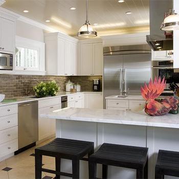 Taupe Kitchen Backsplash, Transitional, kitchen, Tish Key Interior Design