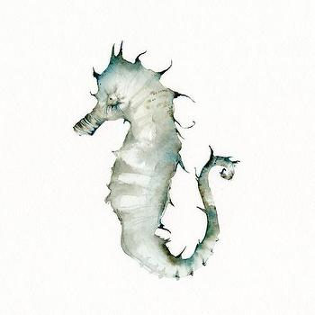 Art/Wall Decor - Seahorse print of watercolor by amberalexander on Etsy - watercolor, seahorse, print