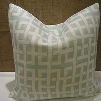 Pillows - Seafoam Green Link Designer 18 Pillow/Cushion Cover by jvwhome - windsor smith, menara, seafoam, green, links, pillow