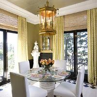 Tish Key Interior Design - dining rooms - drapes, bamboo, roman shades, olive green, walls, white, leather, parsons, chairs, gilt, mirror, diamond tiles, floor, citrine drapes, citrine curtains, trellis curtains, trellis drapes, trellis window panels, citrine trellis curtains, imperial trellis curtains, imperial trellis drapes, imperial trellis window panels, citrine imperial trellis curtains, citrine imperial trellis drapes, Kelly Wearstler Imperial Trellis Fabric - Citrine, Oly Studio Pipa Table,