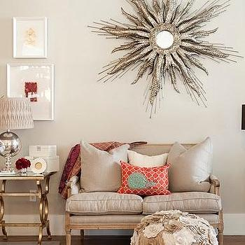Silver Sunburst Mirror, Contemporary, living room, Alice Lane Home