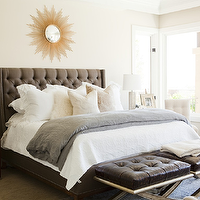 Alice Lane Home - bedrooms - gray, linen, tufted, wingback, headboard, bed, nailhead trim, black, leather, tufted, benches, gold, sunburst, mirror, wood, nightstands, mirrored, disco, lamps, gray, linen, duvet, pink, pillowstufted wingback headboard, gray tufted wingback headboard, tufted headboard, gray tufted headboard, wingback headboard, gray wingback headboard,