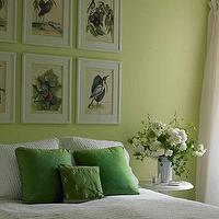 House Beautiful - bedrooms - pastel green, linen drapes, vintage art, spring, green walls, green paint, green paint color, apple green walls, apple green paint, apple green paint color, apple green room,