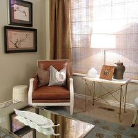 Alice Lane Home - living rooms - tan, walls, leather, chair, white, garden stool, mirrored, cocktail table, brass, accordion, table, Asian, art panels, blue, rug, brown, medallion, rug, bamboo, roller shades, burlap drapes, burlap curtains, burlap window treatments, Oly Studio Tobias Chair,