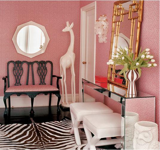 Suzie:  Jonathan Adler  eclectic, feminine, chic foyer design with pink geometric wallpaper, ...