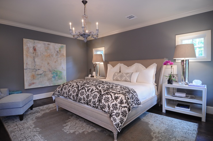 Gray Walls Contemporary Bedroom Benjamin Moore Chelsea Gray