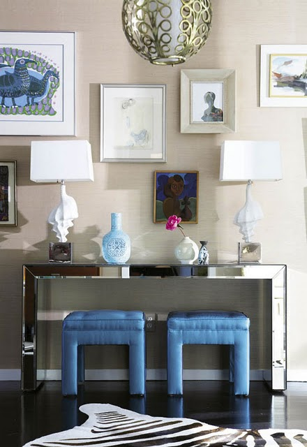 Look Linger Love - entrances/foyers - art gallery, mirrored table, mirrored console table, mirrored foyer table, foyer table, blue stools, blue tufted stools, blue ottomans, blue tufted ottomans, seashell table lamp, grasscloth wallpaper, sand grasscloth sand grasscloth wallpaper,