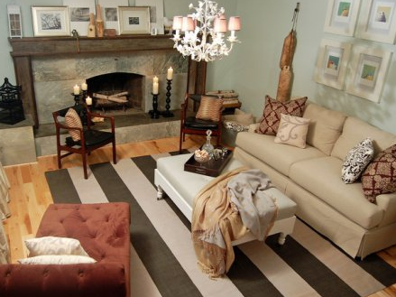 Taupe Striped Rug Eclectic Living Room
