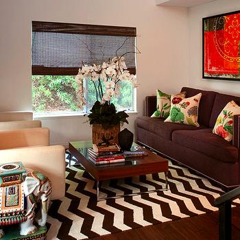 Amy Meier Design - living rooms - elephant stool, elephant stool, ceramic elephant table, elephant table, west elm rug, chevron rug, zigzag rug, brown sofa, low coffee table, West Elm Zigzag Rug,