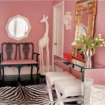 Jonathan Adler - entrances/foyers - faux bamboo mirror, bamboo mirror, pagoda mirror, gold faux bamboo mirror, gold bamboo mirror, gold pagoda mirror, pink foyer, pink wallpaper, mirrored console, mirrored console table, x bench, white x bench, zebra cowhide rug, owl umbrella stand, owl umbrella holder, chippendale settee, black chippendale settee, white mirror, octagon mirror, white octagon mirror, Gold Faux Bamboo Mirror, Jonathan Adler X-Bench, Owl Umbrella Stand, Jonathan Adler Octagonal Mirror,