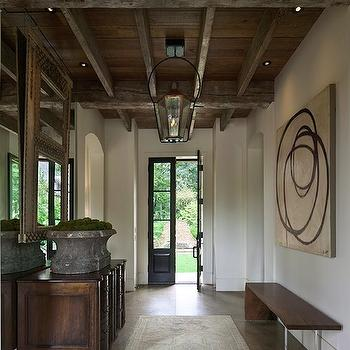 Rustic Exposed Beams Ceiling, Cottage, entrance/foyer, Driscoll Design Group