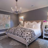 bedrooms - Headboard, Rug, lamps, side tables, gray walls, grey walls, gray paint, grey paint, gray paint color, grey paint color, gray wall paint, grey wall paint, gray bedroom walls, grey bedroom walls, gray bedroom paint, grey bedroom paint, gray bedroom paint color, grey bedroom paint color,
