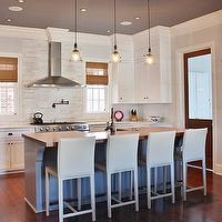 Look Linger Love - kitchens - blue, gray, walls, white, kitchen cabinets, marble, countertops, backspalsh, pot filler, white, leather, stools, gray, kitchen island, butcher block, countertop, double ovens, bamboo, roman shades,