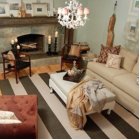 living rooms - green, gray, walls, white, gray, taupe, striped, rug, tan, sofa, white, ottoman, gray, cushion, coral, velvet, tufted, chaise lounge, fainting couch, sofa, stone, fireplace, white, faux bamboo, chandelier,