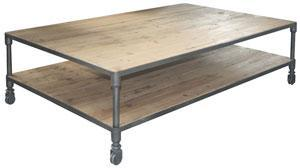 Tables - urbn 2.0 coffee table with casters - ABC Carpet & Home - coffee table, wood, worn