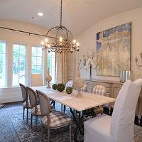 dining rooms - Dining Room by Blailock Designs, Plastered walls by Segreto finishes, Sconces from Browns lighting, Tabriz rug from Matt Camron Rugs, antique french chairs with checked fabric, antique table and sideboard.,