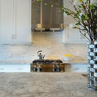 Veranda Interiors - kitchens - Benjamin Moore - Silver Satin - marble, white kitchen,  Manhattan white marble, split face marble backsplash,