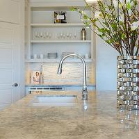 Veranda Interiors - kitchens - Benjamin Moore - Balboa Mist - marble, white kitchen, open shelving,  Open shelving in kitchen, Manhattan marble
