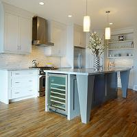 Veranda Interiors - kitchens - Benjamin Moore - Silver Satin - maple hardwood, gray island, white kitchen, gray kitchen, marble,  Main cabinets