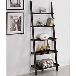 Storage Furniture - Walnut Five-tier Ladder Shelf | Overstock.com - wall shelf, storage, wood
