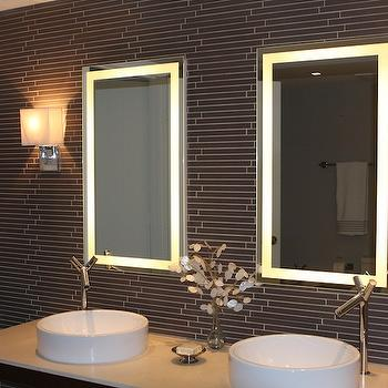 bathrooms - Lighted mirrors, gray glass tiles, gray glass tile backsplash, linear glass tiles, linear gray glass tiles,  Modern bathroom
