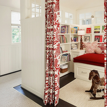 Dillon Kyle Architecture - girl's rooms: reading nook, playroom playroom ideas, daybed, builtin bookcases, kids playroom, kids playroom ideas, white and red curtains, white and red drapes,
