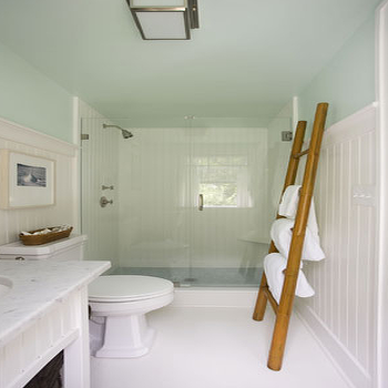 Willey Design - bathrooms - towel ladder, bamboo ladder,  White green blue cottage beachy bathroom design with green blue walls paint color,