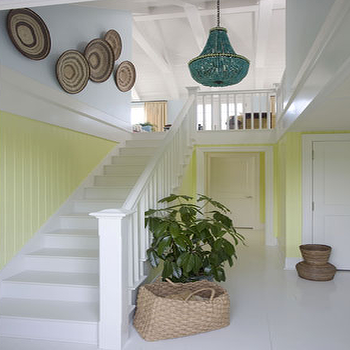 Beachy cottage sunny yellow & turquoise blue foyer entry design with turquoise ...