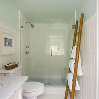 Willey Design - bathrooms - green, blue, walls, bamboo ladder, glossy, white, beadboard, white, bathroom vanity, cabinet, white, carrara, marble, countertops, towel ladder, bamboo ladder,