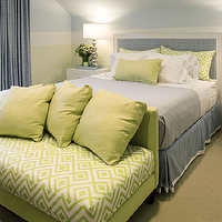 Willey Design - bedrooms - green, David Hicks, diamond, pillows, blue, checkered, headboard, blue, blanket, blue, bed skirt, white, hotel bedding, blue, stitching, white, nightstands, polished nickel, gourd, lamps, green, David Hicks, fabric, storage, bench, blue, checkered, drapes, blue, walls,