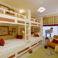 Willey Design - boy's rooms - double, bunk beds, white, hotel bedding, orange, stitching, yellow, red, pillows, orange, leather, tufted, bench, citrine, rug, yellow, green, black, striped, roman shade, bunk bed ladders, removable bunk bed ladders, white bunk bed ladders, bunk beds, built in bunk beds, boys bunk beds, boys built in bunk beds, boys beds, beadboard bunk beds, beadboard built in bunk beds,