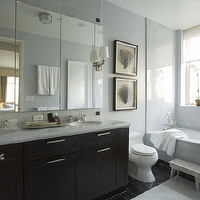 Willey Design - bathrooms - blue, walls, espresso, bathroom cabinet, vanity, double sinks, marble, white, carrara, marble, countertops, backsplash, polished nickel, faucets, seafan art, white, bench, black, marble, tiles, floor, sea fan, seafan, sea fan coral, seafan coral, framed sea fan, framed seafan, frames sea fan coral, framed seafan coral, sea fan art, seafan art, framed sea fan art, framed seafan art,