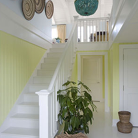 Willey Design - entrances/foyers - yellow, beadboard, woven, bowls, decorative art,  Beachy cottage sunny yellow & turquoise blue foyer entry