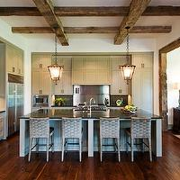 Dillon Kyle Architecture - kitchens - rustic, exposed wood beams, gray, kitchen cabinets, black, stone, countertops, gray, kitchen island, lanterns, wood beams, exposed wood beams, exposed beams ceiling, exposed wood beams ceiling, rustic wood beams, rustic beams ceiling, rustic wood beams ceiling,