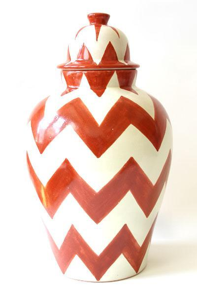 Decor/Accessories - Emilia Ceramics - Burnt Orage ZigZag Tibor - red, zig zag, vase