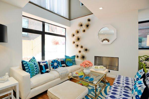 Suzie: Jonathan Adler  ivory & turquoise blue contemporary living room design with turquoise ...