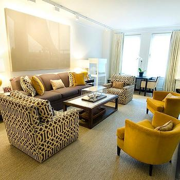 Christina Murphy Interiors - living rooms - kelly wearstler fabric, kelly wearstler pillows, kelly wearstler fabric pillows, mustard yellow chairs, velvet chair, velvet barrel back chairs,