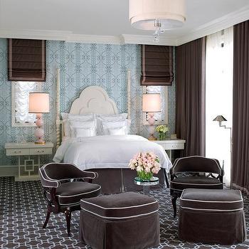 Blue and Brown Bedroom, Transitional, bedroom, Jamie Herzlinger