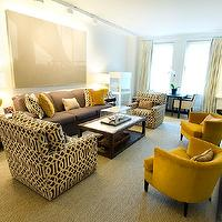 Christina Murphy Interiors - living rooms - Kelly Wearstler, imperial trellis, gunmetal, fabric, chairs, pillows, mustard, yellow, velvet, chairs, pillows, black, tables, fireplace, sisal, rug, kelly wearstler fabric, kelly wearstler pillows, kelly wearstler fabric pillows,