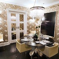 Christina Murphy Interiors - dining rooms - lucite dining chairs, round dining table, wallpapered dining room, dining room chandelier,  Gold