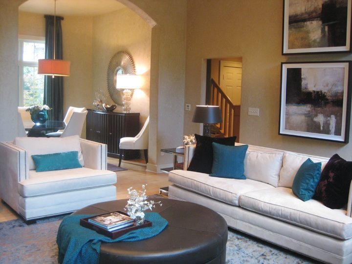 brown and dark turquoise living room