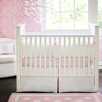 New Arrivals Inc - nurseries - baby bedding, crib bedding, pink baby bedding, pink wallpaper, damask wallpaper, pink damask wallpaper, white and pink nursery, white and pink crib bedding, pink crib bedding,