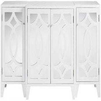 Storage Furniture - Reflections Lyre Cabinet - Cabinets - Storage Cabinets - Living Room Furniture - Furniture | HomeDecorators.com - white, mirrored, cabinet
