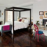 bedrooms: pink, fuschia, gray, x desk, herringbone floors, bronze lamp, four post bed, grey walls, gray, velvet, bench,  NYC apartment