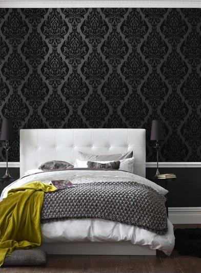 Black damask wallpaper contemporary bedroom for Black white damask wallpaper mural
