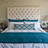Studio Ten 25 - bedrooms - turquoise, blue, basketweave, duvet, shams, glossy, black, urn, lamps, espresso, mirrored, chests, nightstands, gray, ivory, scroll, wallpaper, white, tufted, tall, headboard, turquoise, blue, gray, moorish tiles, drapes, pillow, velvet tufted headboard, white velvet headboard, white velvet headboard, white tufted headboard, white velvet tufted headboard, AVA 30 NIGHTSTAND CHOCOLATE LACQUER,