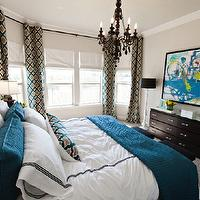 Studio Ten 25 - bedrooms - gray, walls, turquoise, blue, yellow, green, abstract, art, glossy, black, chandelier, white, branch, floor lamp, turquoise, blue, gray, moorish, tiles, drapes, pillow, custom, tall, white, headboard, turquoise, blue, throw, pillows, espresso, dresser, gray, cream, wallpaper, trellis curtains, trellis drapes, trellis window panels, moroccan tile curtains, moroccan tile drapes, moroccan tile window panels moorish tiles curtains, moorish tiles drapes, moorish tiles window panels, Clarke & Clarke Palio - Peacock,