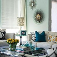 Studio Ten 25 - living rooms - turquoise walls, turquoise blue walls, turquoise wall paint, turquoise blue wall paint, turquoise paint colors, cornice box, mirrored coffee table, square coffee table, wythe blue, Windsor Smith Riad Jet,