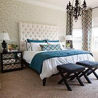 Studio Ten 25 - bedrooms - turquoise, blue, gray, moorish tiles, drapes, pillow, turquoise, blue, pillows, custom, white, tall, headboard, espresso, mirrored, chest, nightstands, glossy, black, lacquer, lamps, glossy, black, crystal, chandelier, ivory, gray, wallpaper, black, x, benches, trellis curtains, trellis drapes, trellis window panels, moroccan tile curtains, moroccan tile drapes, moroccan tile window panels moorish tiles curtains, moorish tiles drapes, moorish tiles window panels, AVA 30 NIGHTSTAND CHOCOLATE LACQUER, Clarke & Clarke Palio - Peacock,