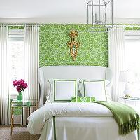 Atlanta Homes & Lifestyles - bedrooms - apple green, floral, wallpaper, white, wingback, bed, white, hotel bedding, green, stitching, green, cashmere, throw, brass, mirrored, nesting, tables, nightstands, white, drapes, gold, ornate, mirror, white, gourd, lamp, white, skirted, table, wingback upholstered headboard, wingback headboard, white wingback headboard, white wingback upholstered headboard,